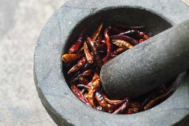 Papričky v hmoždíř